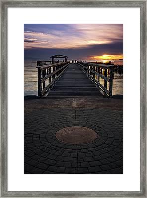 Davis Bay Pier Evening Light Framed Print