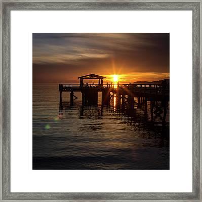Davis Bay Pier Sunset Framed Print