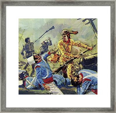 Davy Crockett Eventually Fell To The Ceaseless Mexican Attacks Framed Print by Luis Arcas Brauner