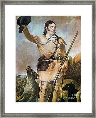 Davy Crockett With His Hunting Dogs In 1836 Framed Print