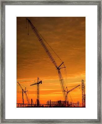 Dawn And Cranes Crawler Cranes And Tower Crane Construction Art Framed Print