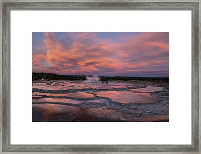 Framed Print featuring the photograph Dawn At Great Fountain Geyser by Roman Kurywczak