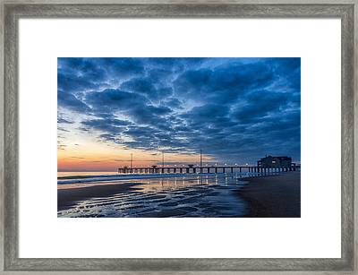 Dawn At Jennete's Pier Framed Print