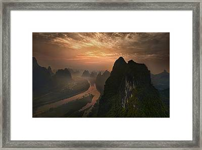 Dawn At Li River Framed Print by Mieke Suharini