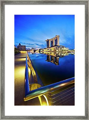 Dawn At Marina Bay Promenade Singapore Framed Print