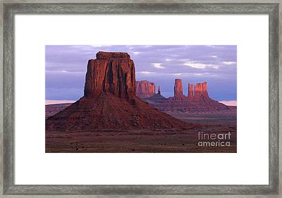 Dawn At Monument Valley Framed Print by Sandra Bronstein