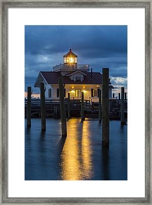 Dawn At Roanoke Marshes Lighthouse Framed Print