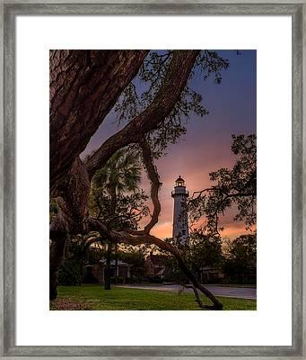 Dawn At Saint Simons Lighthouse Framed Print