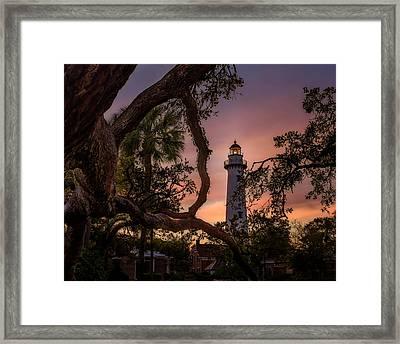 Dawn At Saint Simons Lighthouse - Horizontal Framed Print