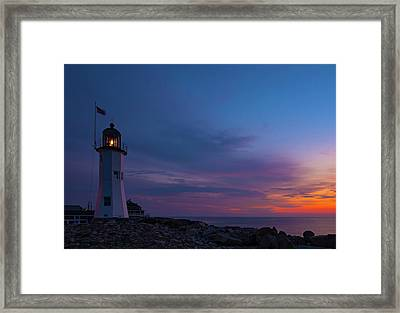 Dawn At Scituate Light Framed Print