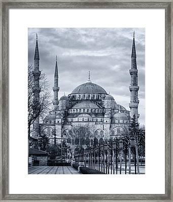 Dawn At The Blue Mosque Framed Print by Joan Carroll
