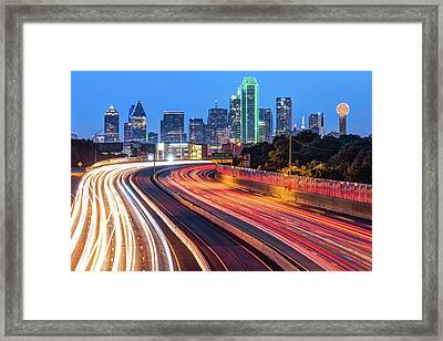 Framed Print featuring the photograph Dawn At The Dallas Skyline - Texas Cityscape by Gregory Ballos