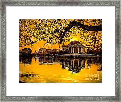 Framed Print featuring the photograph Dawn At The Jefferson Memorial  by Nick Zelinsky