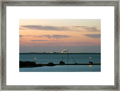 Dawn At The Sunshine Skyway Bridge Viewed From Tierra Verde Florida Framed Print by Mal Bray