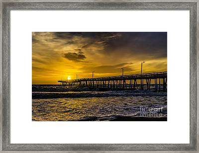 Dawn At The Virginia Pier Framed Print