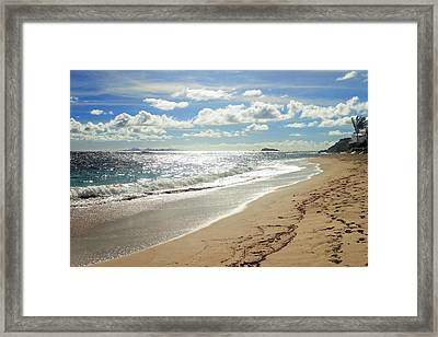 Framed Print featuring the photograph Dawn Beach by Lars Lentz