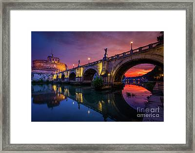 Dawn By The Tiber River Framed Print by Inge Johnsson