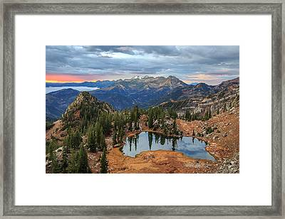Dawn Glow At Silver Glance Lake. Framed Print