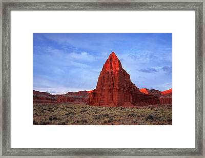 Framed Print featuring the photograph Dawn Glow In Cathedral Valley. by Johnny Adolphson