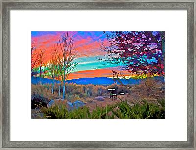 Dawn In El Prado  Framed Print