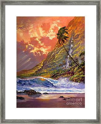 Dawn In Oahu Framed Print by David Lloyd Glover