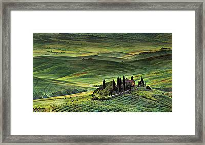Dawn In Tuscany Italy Framed Print by Russ Harris