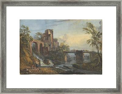Dawn Landscape With Classical Ruins Framed Print