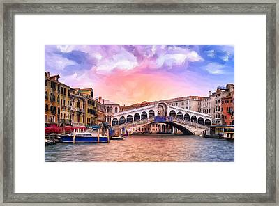 Dawn Light At Rialto Bridge Framed Print