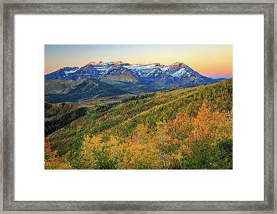 Dawn Light On Mount Timpanogos. Framed Print