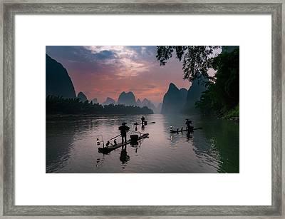 Waiting For Sunrise On Lee River. Framed Print