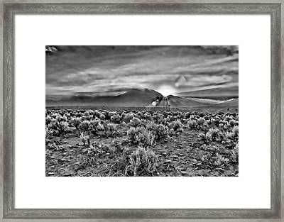 Dawn Over Magic Taos In B-w Framed Print