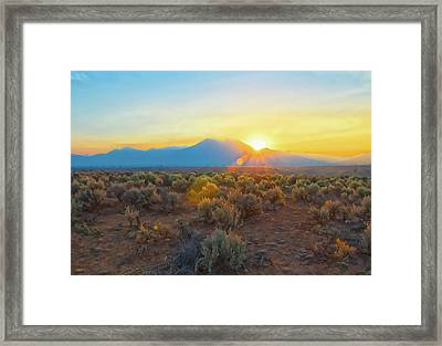 Dawn Over Magic Taos Mountain Framed Print