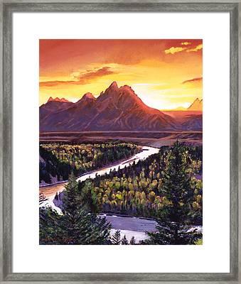Dawn Over The Grand Tetons Framed Print by David Lloyd Glover