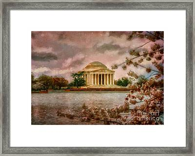 Dawn Over The Jefferson Memorial Framed Print by Lois Bryan