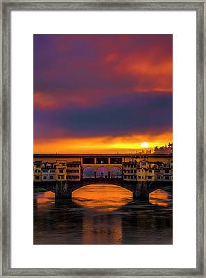 Dawn Over The Ponte Vecchio Framed Print by Andrew Soundarajan