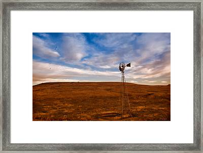 Dawn Prairie Windmill Framed Print