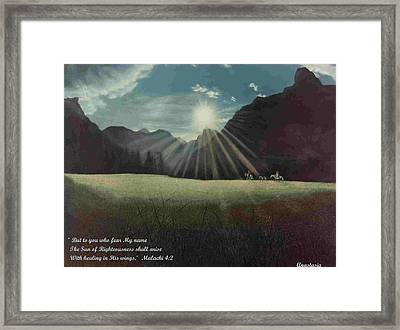 Framed Print featuring the painting Dawn Riders With Verse by Anastasia Savage Ealy