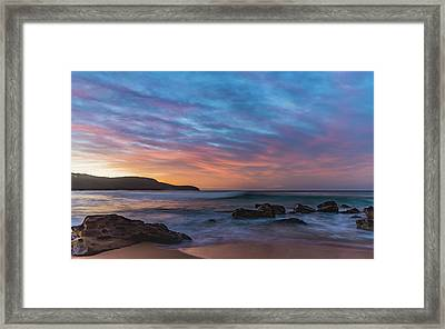 Dawn Seascape With Rocks And Clouds Framed Print