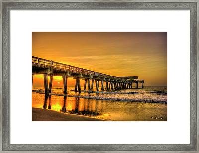 Framed Print featuring the photograph Dawn Under Tybee Island Pier Sunrise Reflections Art by Reid Callaway