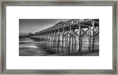 Dawns Reflection Folly Beach Pier Charleston South Carolina Framed Print