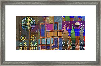 Day And Night Collage Photography Abstract Art From Church Walls Moon Hightide N Graphic Window View Framed Print by Navin Joshi
