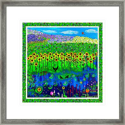 Day And Night In A Sunflower Field With Floral Border Framed Print
