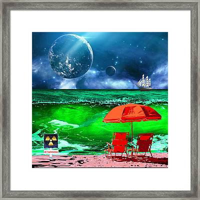 Day At The Beach On Mars Framed Print by Elaine Plesser