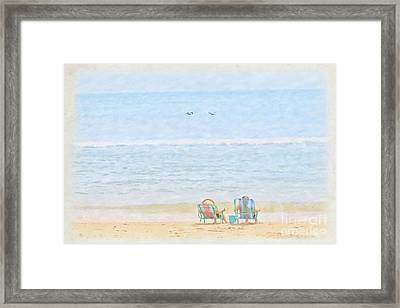 Framed Print featuring the digital art Day At The Beach Sun And Sand by Randy Steele