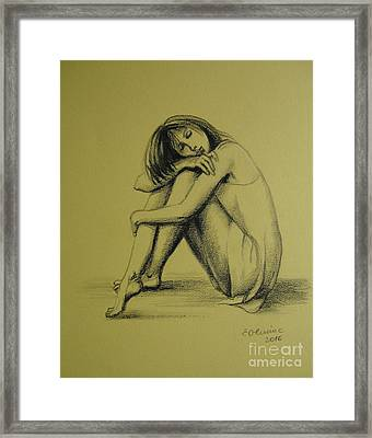 Framed Print featuring the drawing Day Dreaming by Elena Oleniuc