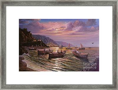 Day Ends On The Amalfi Coast Framed Print