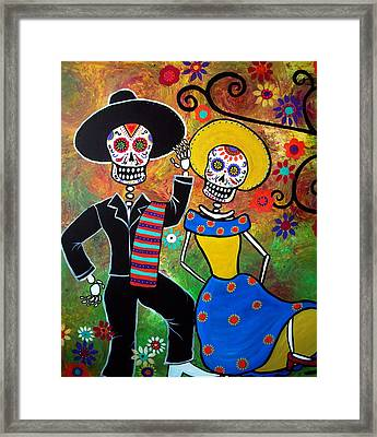 Day Of The Dead Bailar Framed Print by Pristine Cartera Turkus