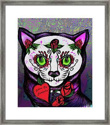 Day Of The Dead Cat Framed Print