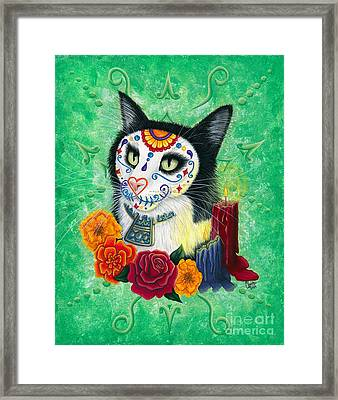Framed Print featuring the painting Day Of The Dead Cat Candles - Sugar Skull Cat by Carrie Hawks