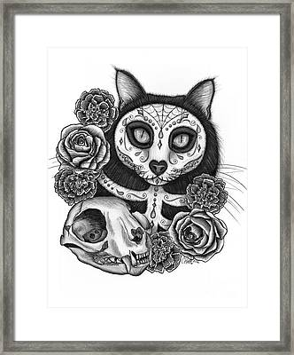 Framed Print featuring the drawing Day Of The Dead Cat Skull - Sugar Skull Cat by Carrie Hawks